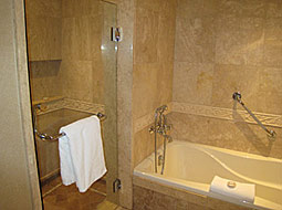 Luxury bathroom in a suite at the downtown Vancouver Wedgewood Hotel
